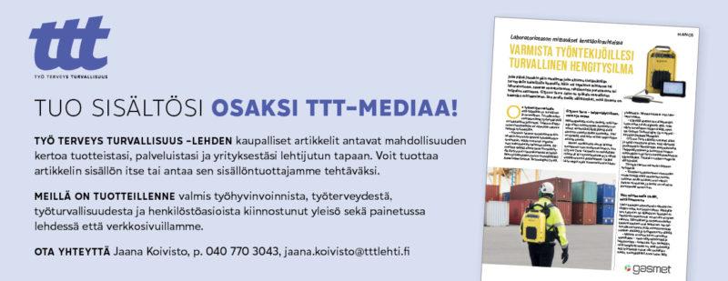 Kuvassa on TTT-lehden mediatarjontaa esittelevä painetun lehden mainos, jossa on kuva kaupallisesta artikkelista.