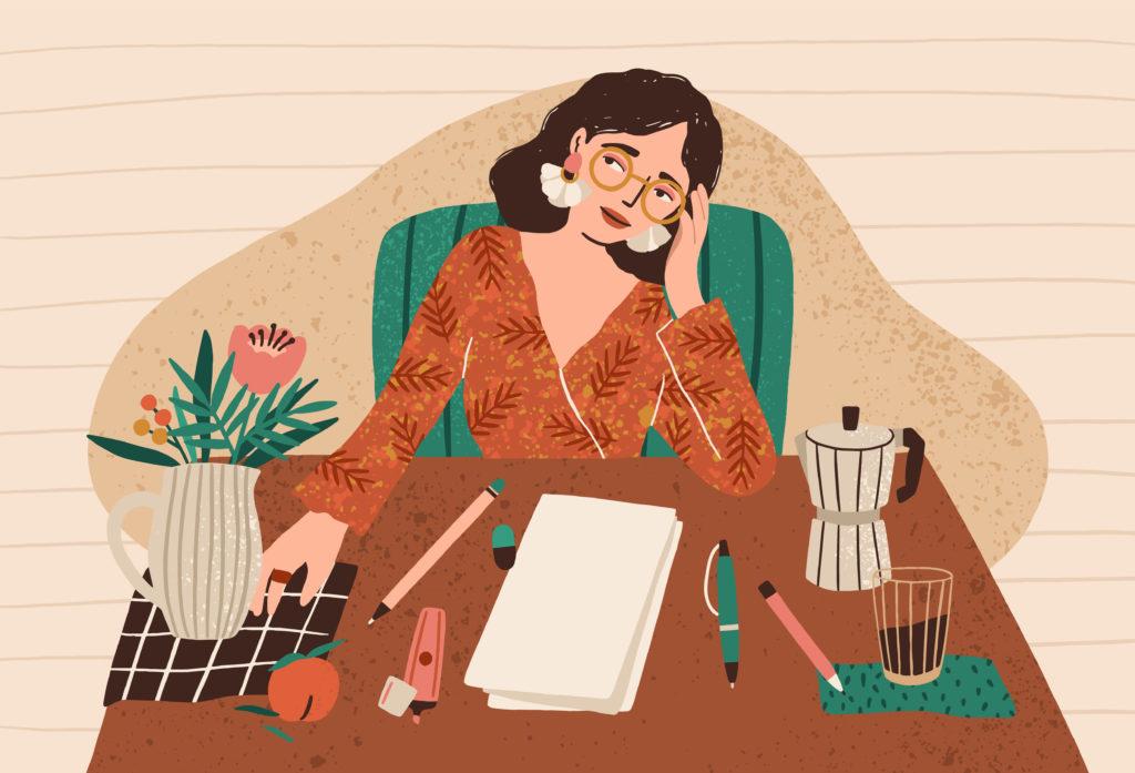 Piirroskuvan nainen istuu työpöytänsä ääressä pää kallellaan. Hän on pukeutunut kauniisti korvakoruineen ja mekkoineen.
