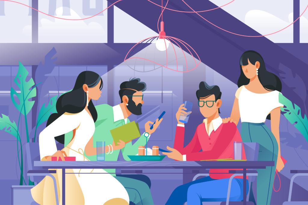 Neljä piirroshahmoa istuu pöydän ääressä keskustellen